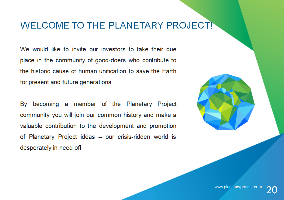 Planetary Project Presentation for investors and partners